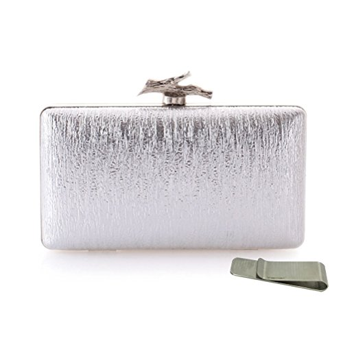 Price comparison product image Taidaf Hard Case Evening Bags for Women,Rhinestone Clutches for Wedding Prom Party Cocktail(Silver)