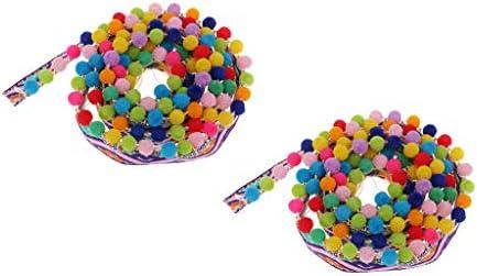 ポンポンボール フリンジ タッセル 縫製 衣装飾り 民族風 カラフル 2個入 2サイズ選べ  - 17mm