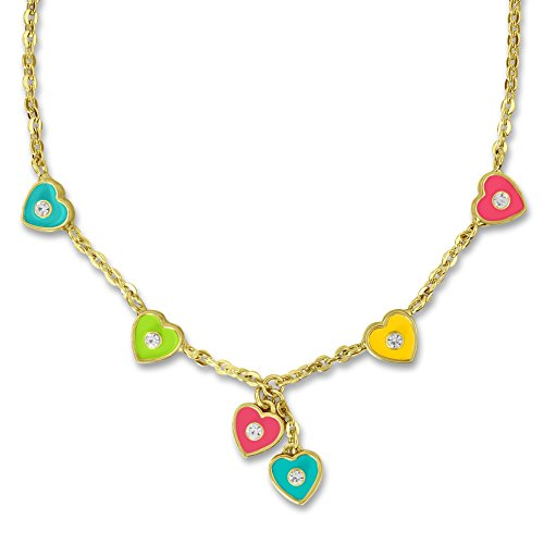 (A Touch of Dazzle Heart Necklace for Kids | Sweet Jewelry for Kids | Girls Necklace with Six Heart Charms for Girls Jewelry Sets | Best Gifts for Girls 18k Gold Plated Charm Necklace)
