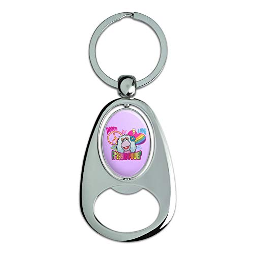 Graphics and More Peace Love Fraggle Power Rock Mokey Chrome Plated Metal Spinning Oval Design Bottle Opener Keychain