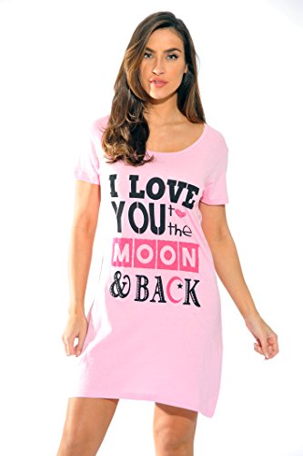 Just Love Sleep Dress for Women / Sleeping / Dorm Shirt / Nightshirt,Pink - I Love You to the Moon,2X Plus