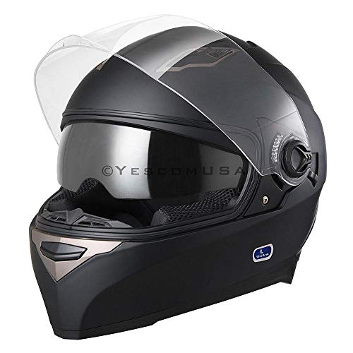 Matte Black Motorcycle Helmet Full Face Dual Visors Flip Up ABS Air Vent Motor Cross Motorbike Touring Sports DOT Approved (Size L)