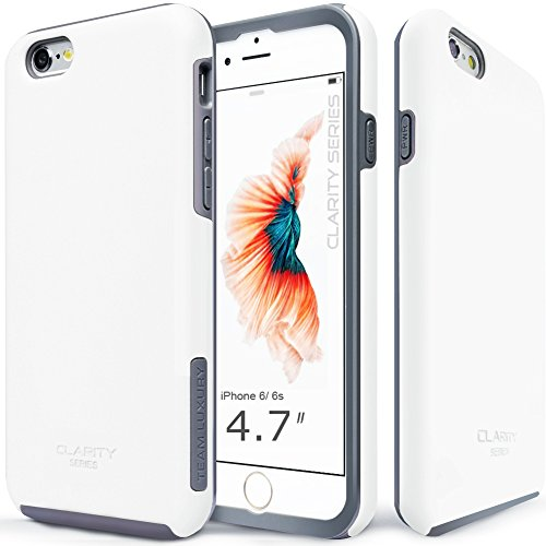 Team Phone - iPhone 6s Case, TEAM LUXURY [Clarity Series] Ultra Defender TPU + PC Shock Absorbent Slim-fit Premium Protective Case - for Apple iPhone 6 / iPhone 6S (Cotton white/ Gray)