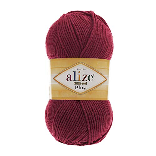 Worsted Cotton Yarn Alize Cotton Gold Plus Thread Crochet Hand Knitting Art Lot of 4skn 400 gr 876 yds Color 390 Cherry ()