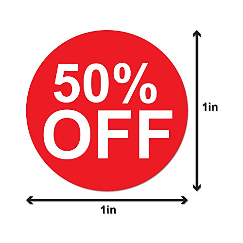 50% Percent Off Sales Labels Self Adhesive Stickers (Red White / 1