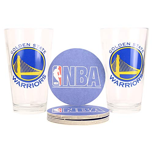 NBA Pint Glass and Coaster Set (2 Pack) (Golden State Warriors)