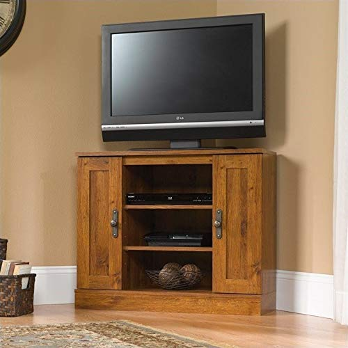 "Sauder 404962 Harvest Mill Corner Entertainment Stand, For TV's up to 37"", Abbey Oak finish"