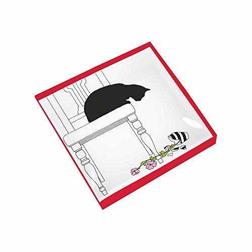 "Paperproducts Design Gift-Boxed Glass Dish Displaying Original Sue Boettcher Black Cat Vase Design, 6 x 6 x 1"", Multicolor"