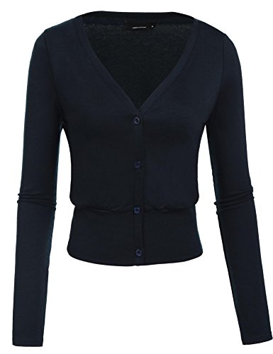 Zeagoo Womens Classic Snap Button Down Half Sleeve Fine Knit Top Cardigan Sweater Navy (Fine Cotton Long Sleeve Cardigan Sweater)