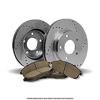 (Front Brake Kit)2 OE SPEC Cros Drilled Brake Rotors & 4 SemiMet Pads (Fits:4lug): Automotive
