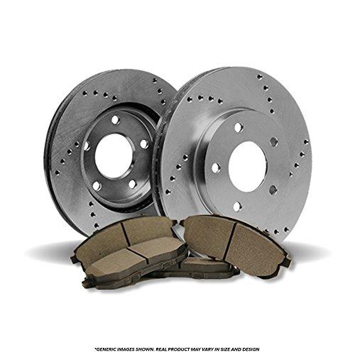 ((Front Kit) 2 HD SPEC Cross Drilled Brake Rotors & 4 Semi-Met)