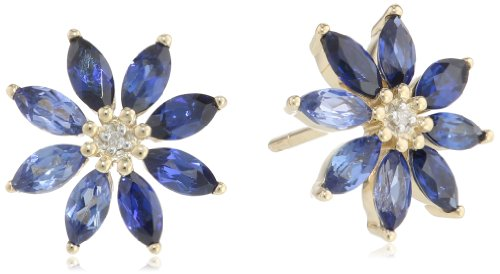 10k Yellow Gold, Created Sapphire, and Diamond-Accented Flower (Diamond Floral Stud)