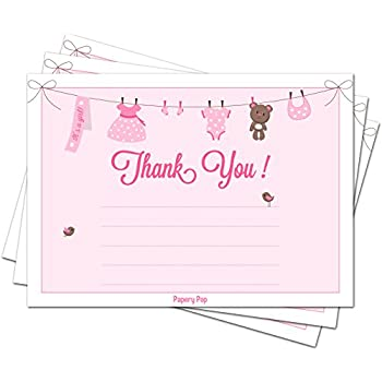 30 Baby Shower Thank You Cards For Girls (with Envelopes)   Baptism Or Baby