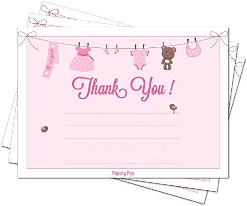 30 Baby Shower Thank You Cards for Girls (with Envelopes) - Baptism or Baby Shower Thank You Notes - Fits Perfectly with Pink Baby Shower Invitations, Supplies and Decorations