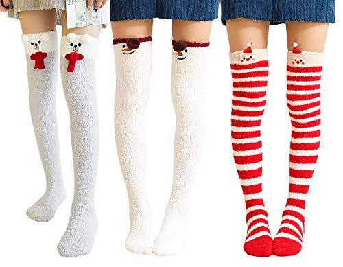 (Wander G Womens Cute Cartoon Fuzzy Socks Over Knee Thigh High Stockings Winter Warm Stripe Leg Warmers (3 Pairs))