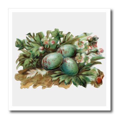 3dRose ht_104610_2 Vintage Antique Victorian Blue Robins Eggs and Floral Design-Iron on Heat Transfer for White Material, 6 by 6-Inch