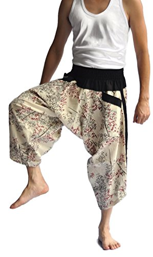 Siam Trendy Men's Japanese Style Pants One Size Two Tone bamboo design off white