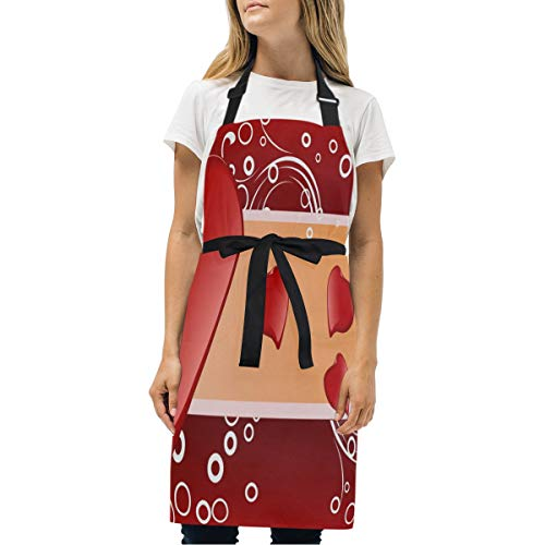 Womens Aprons Personalized Valentine's Day (2) Kitchen Bib Aprons with Pockets Adjustable Buckle on Neck