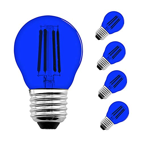 4 Watts Antique Style LED A15 Filament Bulb - Lustaled Blue G45 Globe LED Colored Light 120V A15 LED Lights Medium E26 Screw Base 40W Equivalent for Chandelier Bars Entertainment Lighting (4-Pack)