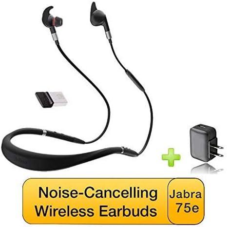 Jabra Evolve 75e Bluetooth Headset USB Bundle | VoIP Communications | Windows PC MAC Smartphone Streaming Music Avaya Skype Cisco Bria Zoom Webex | Includes Bonus Charger (UC Bundle)