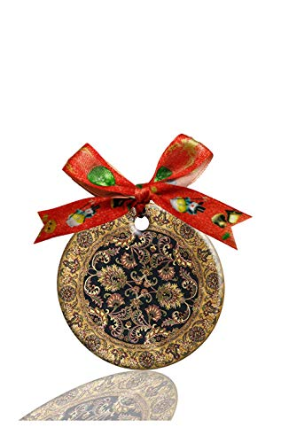(Adiucmcz Oriental Persain Pattern Porcelain Ornament Crafts Round Porcelain Christmas Decorations Home Hanging Gift)