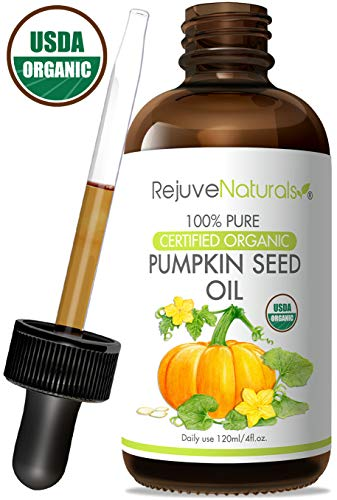 Pumpkin Seed Oil (4oz) USDA Certified Organic, 100% Pure, Cold Pressed by RejuveNaturals. Boost Hair Growth for Eyelashes, Eyebrows & Hair. Overactive Bladder Control for Men & Women. Skin Moisturizer