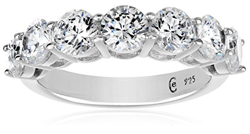 Platinum-Plated Sterling Silver 7-Stone Ring made with Swarovski Zirconia (3 cttw), Size 8