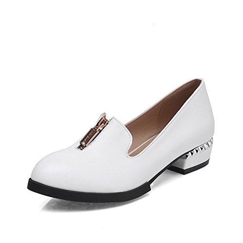 Zipper Heels WeenFashion Toe White Pu Pumps Solid Women's Closed Pointed Low Shoes x4667Fn