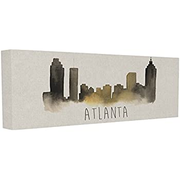 Stupell Industries Atlanta Skyline Silhouette Stretched Canvas Wall Art, 10 x 1.5 x 24, Multi-Color