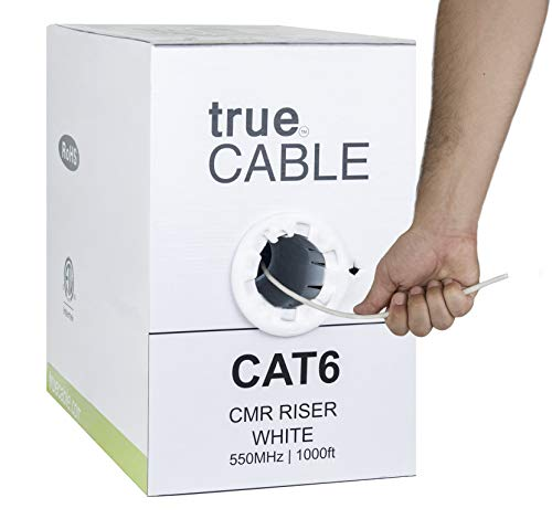 Cat6 Riser (CMR), 1000ft, White, 23AWG 4 Pair Solid Bare Copper, 550MHz, ETL Listed, Unshielded Twisted Pair (UTP), Bulk Ethernet Cable, trueCABLE ()