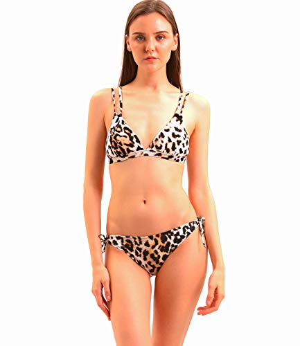 COANA Leopard Print Bikini Swimsuit for Women Sexy Backless Adjustable Strap Bathing Suit