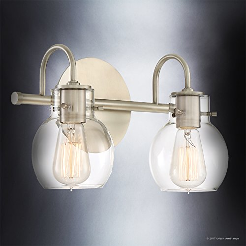 Luxury Vintage Bathroom Light, Medium Size: 9''H x 14''W, with Industrial Style Elements, Floating Glass Design, Aged Nickel Finish and Clear Glass, Includes Edison Bulbs, UQL2040 by Urban Ambiance by Urban Ambiance (Image #2)