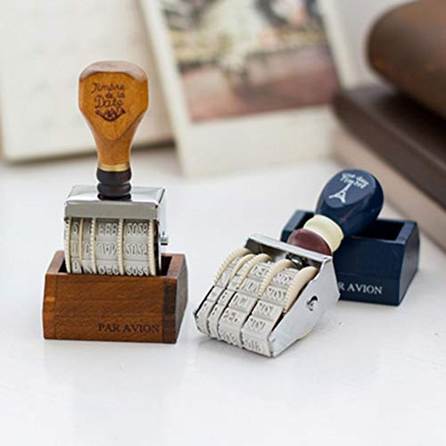 bjduck99 DIY Vintage Wooden Handle Date Stamp Rolling Wheel Scrapbooking Stationery Decor Gift - Coffee by bjduck99 (Image #2)
