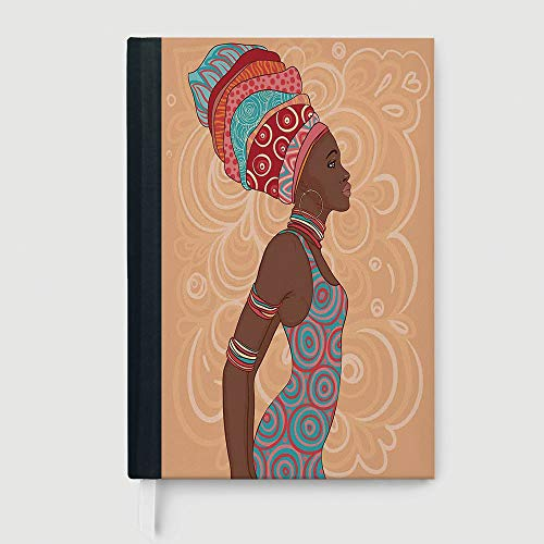 Afro Decor,Business Notepad Daolin Paper,Ethnic Tribal Woman in Native Clothes Savannah Trends Bohemian Culture Art Image,96 Ruled Sheets,A5/8.24x5.73 in