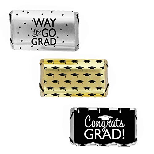 Graduation Party Mini Candy Wrappers - Congrats Grad Black, Silver, Gold - 54 Stickers