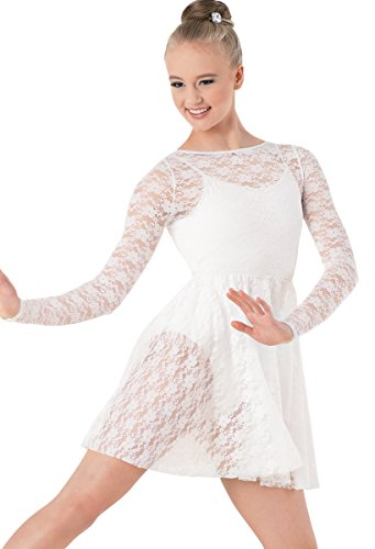 [Balera Lace Dance Overdress Long Sleeve White Adult Large] (Dance Costumes For Competition For Adults)