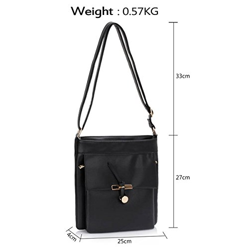 Xardi London-Custodia in pelle, stile borsetta-Borsa a spalla da donna Black