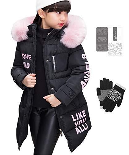 FULUOYIN Winterjas voor meisjes, met bontcapuchon, bovenkleding, dichte kinderjas, winterjas, mantel, parka
