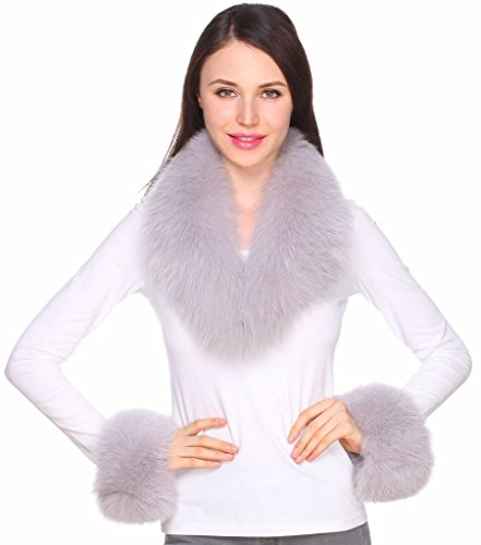 Ferand Women's Gorgeous Genuine Light Grey Fox Fur Shawl Collar with Matching Cuffs for Parka Leather Jacket Winter Coat,31.5 inch