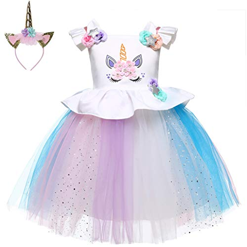 LZH Baby Girls Unicorn Dress Birthday Pageant Princess Tulle Tutu Costumes Rainbow Dress -