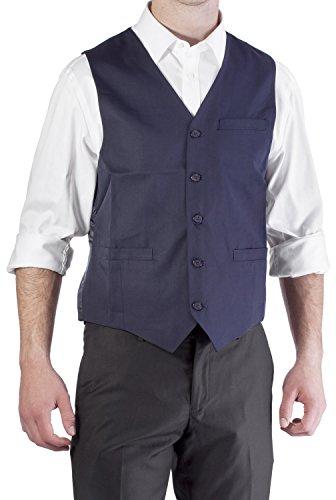 Alberto Cardinali Men's Solid Color Suit Separate Vest V101B (Small Navy) (Suit Color Navy Shoes)