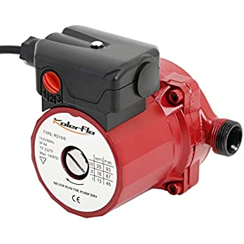 KOLERFLO 3/4 Inch Hot Water Circulating Pump 3-Speed Circulation Water Pump for Solar Heater System(RS15-6 Red)