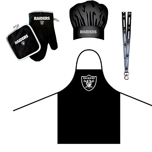 Oakland Raiders NFL Barbeque Apron and Chef's Hat and Oven Mitt with Bottle Opener Chefs Barbecue Mitts