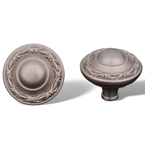 Rk International - Pewter Rki Small Deco-Leaf Edge Knob (Rkick761P) - Small Deco Leaf Edge