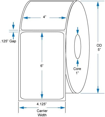 800264-605 Compatible Kenco Brand 4 Zoll X 6 Zoll mit Perf Direct Thermal Labels zu passen Eltron oder Zebra Printers. 1 In. Core, 475 Labels Per Roll, 12 Rolls Per Case