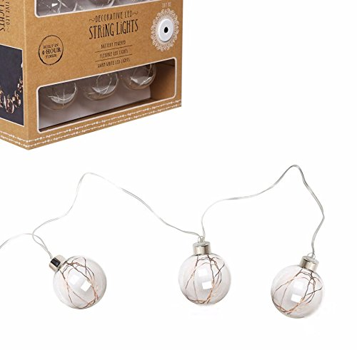 (American Vintage Style Home Collection 10 Ft Decorative String, LED Indoor/Outdoor 30 Lighted Fairy Mini Lights Inside 6 Edison Globe Bulbs Ornament Battery Operated Lights with Built in 4-Hour Timer)