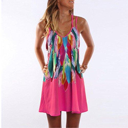Rose occasionnels Cocktail Robe Sundress imprim Beach parti Femmes Malloom Vif Boho t q6BxwIavn