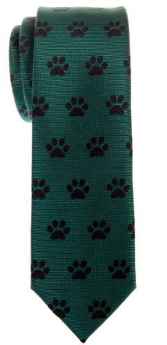 Paw Print Tie - Retreez Doggie Puppy Paws Woven Microfiber Skinny Tie - Green, Christmas Gift