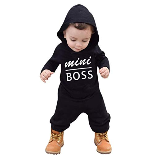 Letter Printed Hoodie Outfits, Keepfit Toddler Kids Baby Boys Girls Romper Comfy Soft Jumpsuit Mini Boss Clothes Set (12 Months, -