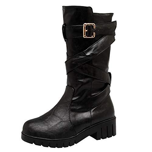 Respctful ♫♬ Biker Boots for Women Vegan Motorcycle Boots Mid Calf Heel Buckle Boots Ladies Low Cut Moto Boots